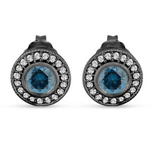Enhanced-Blue-Diamond-Stud-Earrings-Halo-14K-Black-Gold-Vintage-Style-0-84-Carat