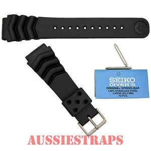SEIKO-Z22-with-FAT-Springbars-Rubber-Divers-Watch-Band-Strap-22mm-Wave-Vent-6309