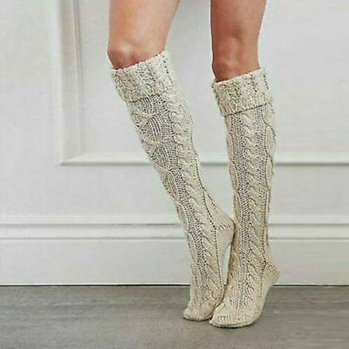 Womens Winter Cable Knit Over Knee Thigh-High Warm Socks Leggings Christmas Gift