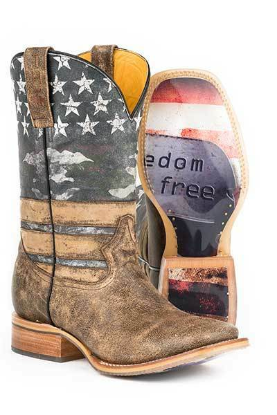 Herren TIN HAUL USA Stars Flag FREEDOM Dog Tags Square Toe Leather Cowboy Stiefel