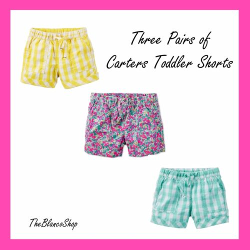 Toddler Girl Carter/'s Pattern Shorts 3 Pack Yellow Mint and Pink Floral 2T NEW