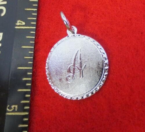 14KT WHITE  GOLD EP LETTER A ROUND INITIAL DISC CHARM WAS $8.95