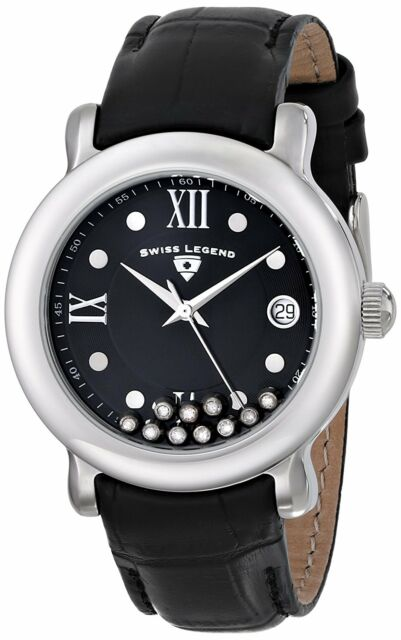 Crystals Diamanti 22388 Legend Black Calfskin 38mm Ladies Swiss Watch Date 01 PZkuTOiX