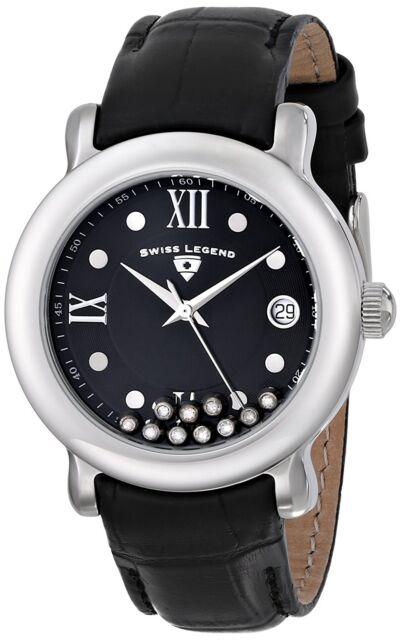 Crystals 22388 01 Ladies Calfskin Date 38mm Swiss Watch Legend Diamanti Black 1KFJlc