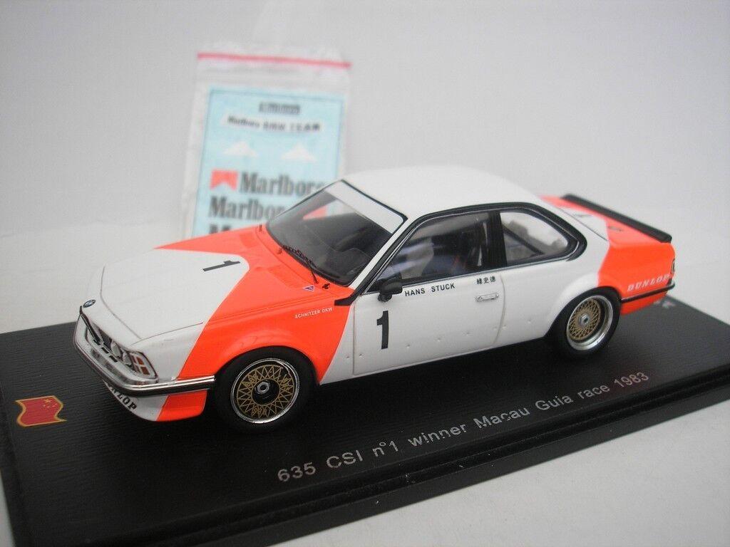 BMW 635 CSI carrera de GUIA DE MACAO 1983 H. Pieza 1 43 SPARK SA052 NUEVO