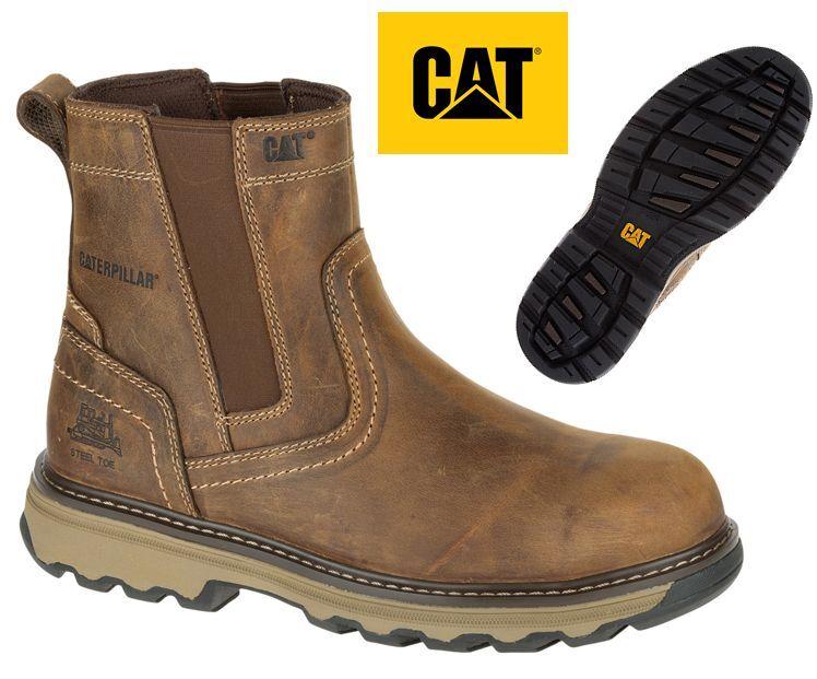 MENS CATERPILLAR CAT LEATHER SAFETY DEALER STEEL TOE CHELSEA SLIP SLIP SLIP ON WORK BOOTS 53c0e4