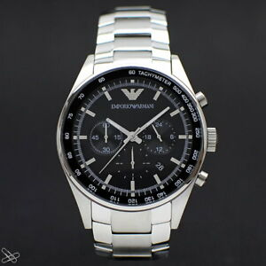 EMPORIO-ARMANI-ar5980-Reloj-Hombre-Cronografo-color-PLATA-Negro