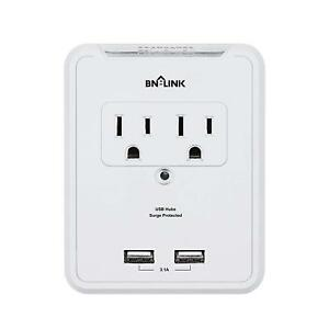 BN-LINK-Wall-Mount-Adapter-Surge-Protector-with-2-AC-Outlets-and-2-USB-Outlets