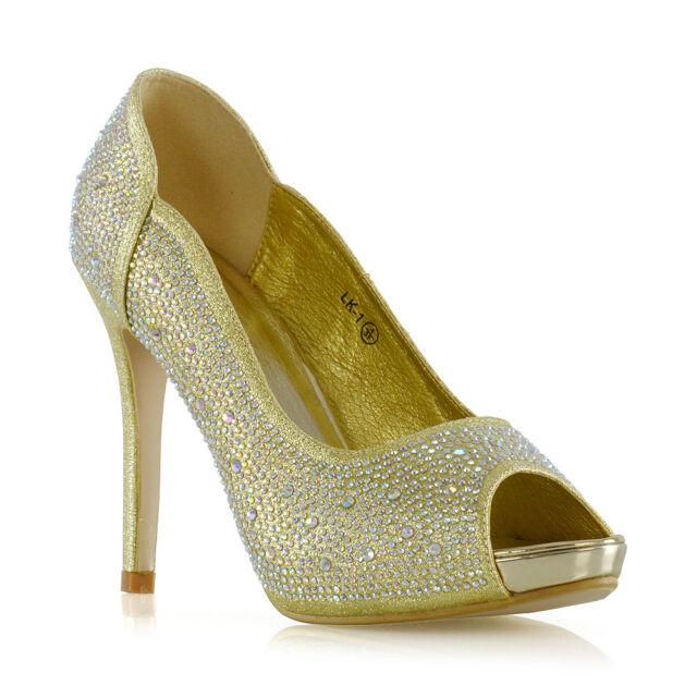 f3372894bce Womens Diamante Party Shoes Ladies Platform PEEP Toe Bridal Evening ...