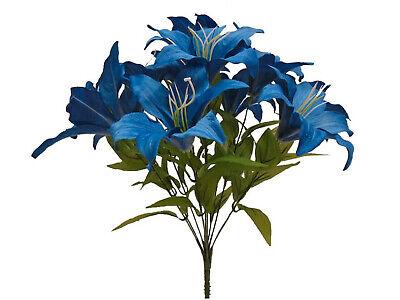 """WHITE Tiger Lily Bush Satin Artificial Flowers 19/"""" Bouquet 11-8225WT"""