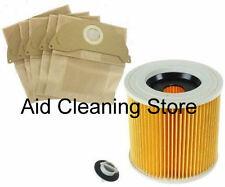FILTER & DUST hoover BAGS for KARCHER MV2 Wet & Dry Vacuum Cleaner 5BAGS&FILTER
