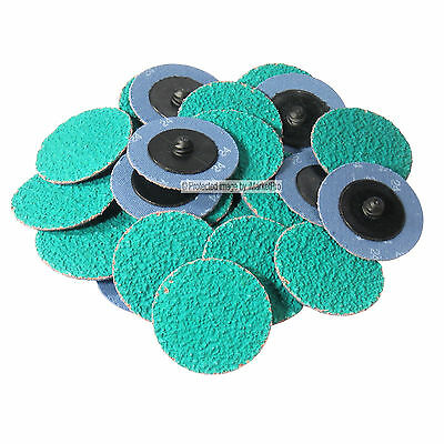 "25Pc 2/"" 120 Grit Ceramic GA Roloc Type Roll On Lock Sanding Disc Made in USA"