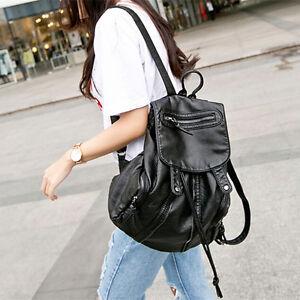 Women Leather Backpack Travel Handbag Student Rucksack Black Girls ...