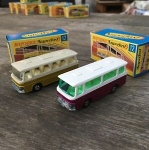 2x-Matchbox-Superfast-No-12-Setra-Bus-Coach-Crimson-Plum-amp-Gold-1970-with-Boxes
