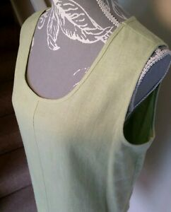 Vintage-St-Michael-M-amp-S-Women-039-s-Sleeveless-Linen-Blend-Apple-Green-Top-UK-14