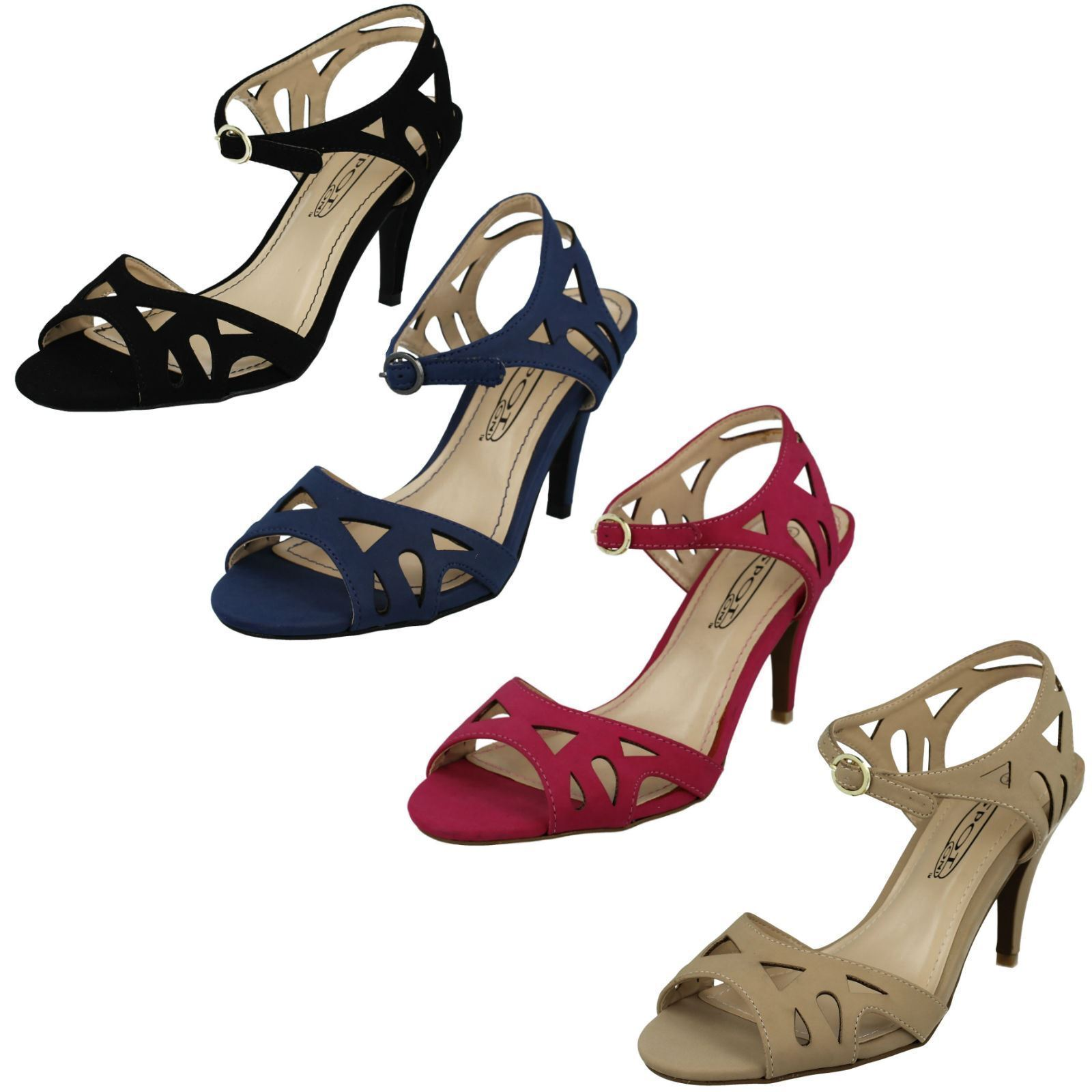 Ladies F10173 Peep Toe Ankle Strap Court Shoe By Spot On £9.99