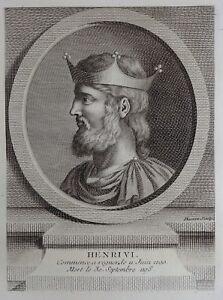 100% Vrai Antique Print Gravure Portrait Henri Vi Du St Empire Germanique Basan