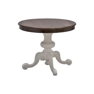 Tavolo rotondo in legno intagliato, allungabile piano noce, gamba ...