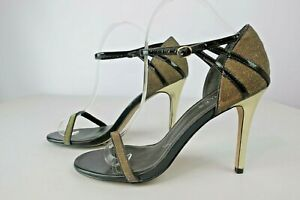 Charles-by-Charles-David-Womens-Ankle-Strap-Stiletto-Heels-Gold-Black-Size-9-5