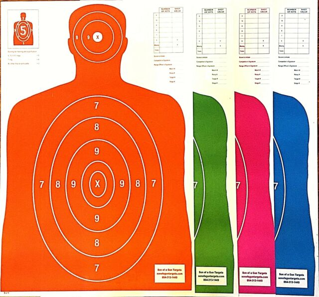 "5 Pink B27-E Silhouette Paper Shooting Targets 23/""x 35/"""