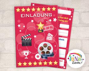 """12 einladungskarten einladungen kindergeburtstag """"kino"""