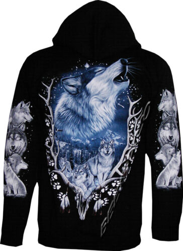Biker Wolf Wolves Antlers Eagle Native American Zip Zipped Hoodie Hoody Jacket