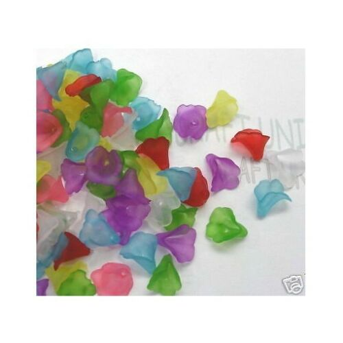 200 pcs Acrylic MINI Flower Beads Matt Frosted C388 8mm U Pick