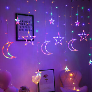 3.5m Star Moon Fairy LED Curtain String Lights Garland Wedding Party Decor Lamp