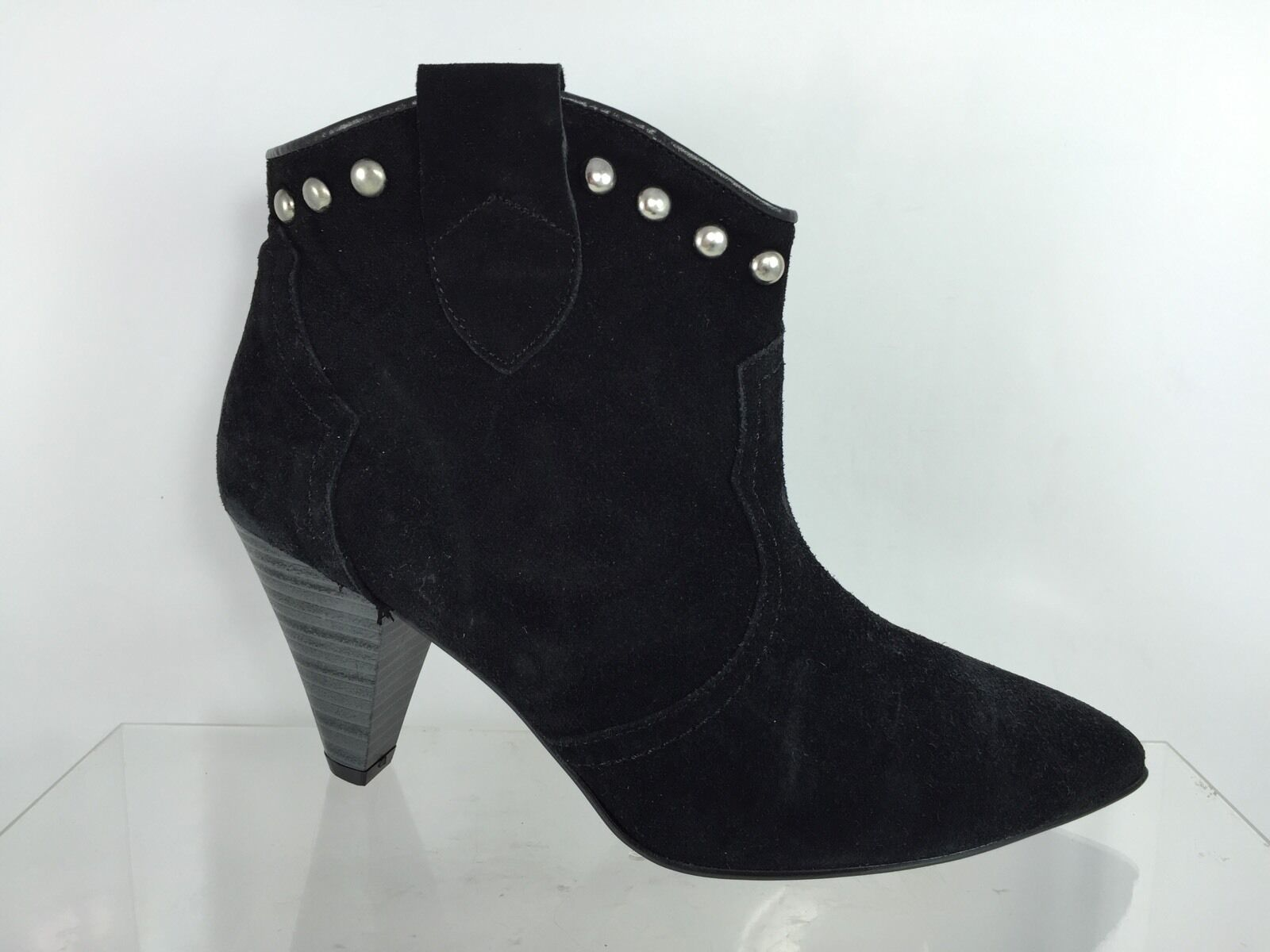 Charles David Womens Black Leather/Suede Ankle Boots 39.5