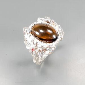 Vintage-Natural-Smoky-Quartz-925-Sterling-Silver-Ring-Size-5-5-R123172
