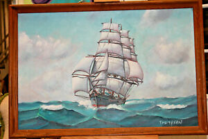 Ellery-Thompson-034-Cape-Horner-Clipper-034-1970-Oil-on-Board-Personal-Collection