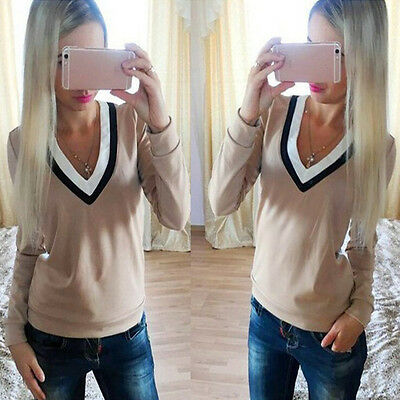 New Fashion Women V-neck Tops Tee Long Sleeve Shirt Casual Blouse Loose T-shirt