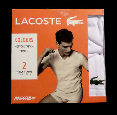 Mens New Lacoste Slim Flexible Stretch Fit V-Neck T-Shirts White Small Tag Free