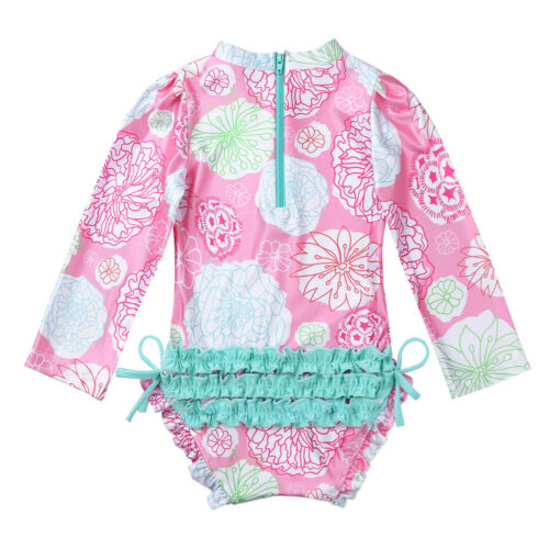 Toddler Kids Girl Long Sleeve Swimsuit Rash Guard Sun Protective Surf Swim Beach