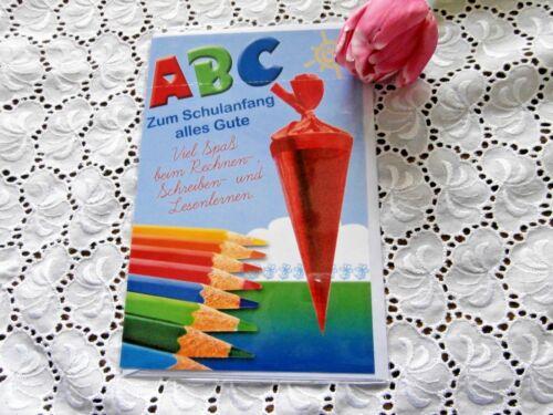 Glückwunschkarte Einschulung Teddy Tafel ABC Schulanfang Schultüte Buntstifte