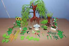 Lote De Playmobil trabajo de árboles plantas y arbustos fuente de agua