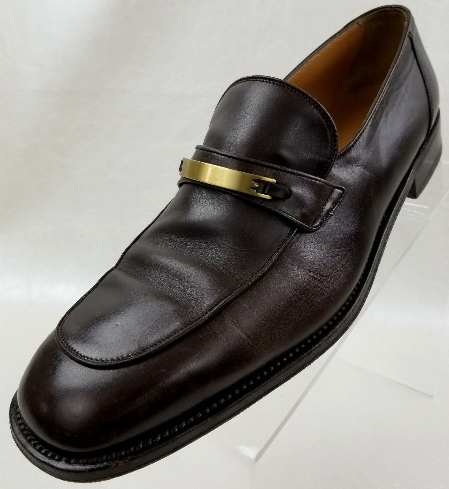 Bally Orvieto Loafers Apron Toe Mens Brown Leather Slip On Mens Toe Shoes Size 11.5 6b6f46