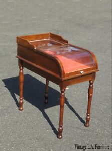 Vintage-French-Shadow-Box-End-Side-Table-with-Red-Velvet-Showcase-Box