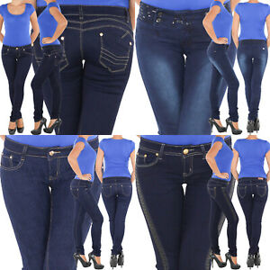 Damen-Roehrenjeans-Skinny-Slim-Fit-Jeans-Stretch-Hueft-Hose-5-Pocket-Roehre-Blau