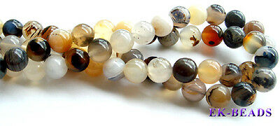 Natural Dendritic Agate Round Beads 4-16mm More Discount for Wholesale Beads