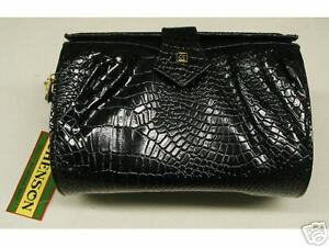 BLACK-LADIES-HANDBAG-small-SIZE-with-shoulder-strap-Stamped-design-NEW