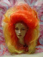 Vegas Wigs Costume Wild Drag Queen Long Teased Volume Body Orange Yellow Hot