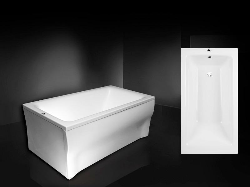 Qualité rectangulaire acrylique bain TALIA 100 x 70 Baignoire Ensemble Complet