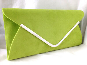 Image Is Loading Lime Green Faux Suede Evening Day Clutch Bag