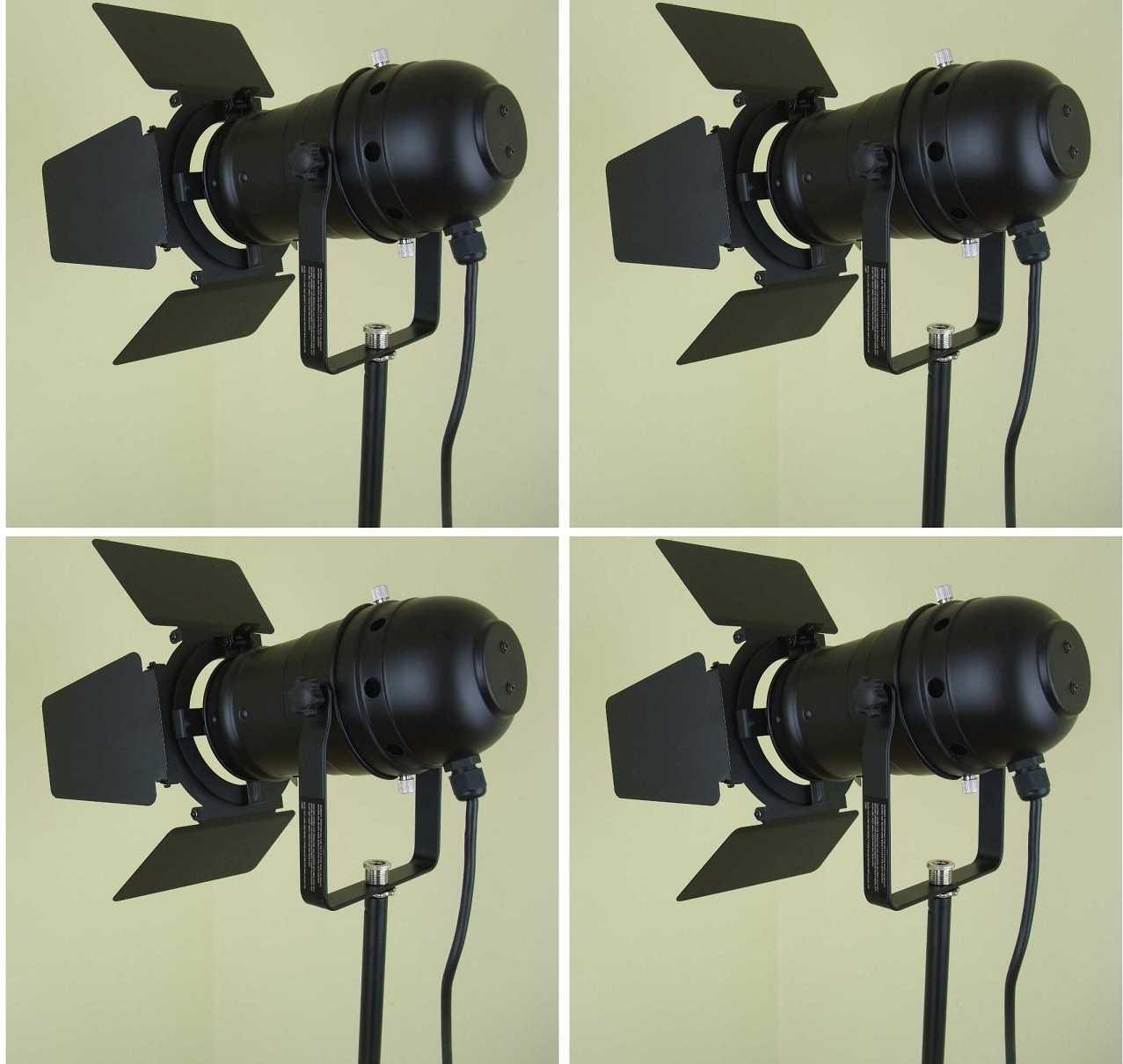 4 x PAR-30 Spot Schwarz mit Barn-Door Flügel-Tor-Blende E27 Fassung Scheinwerfer