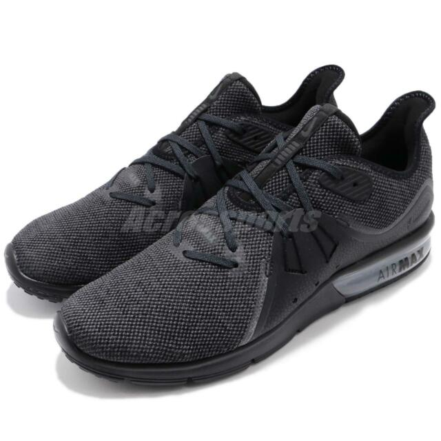 official photos 0f4b6 d2bef Nike Air Max Sequent 3 III Black Anthracite Grey Men Running Shoes 921694- 010