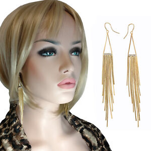 "Runway Fashion JLo Gold Tone Earrings Extra Long 5"" Fringe Shoulder Duster"
