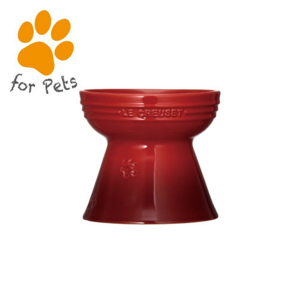 LE CREUSET High Stand  Pet Ball Dog Cat Dishware  Water Supply Feeder Cherry rot