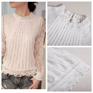 Womens-Elegant-Stand-Collar-Long-Sleeve-Casual-Crochet-White-Lace-T-Shirt-Blouse