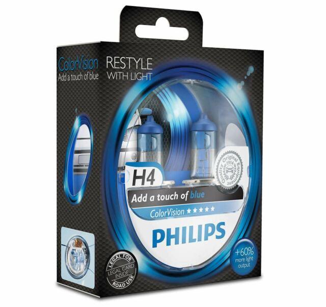 Philips H4 ColorVision Blue 12v Colored effect Upgrade Car BULB Set